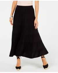 Style & Co. Tiered Comfort-waist Midi-skirt, Created For Macy's - Black