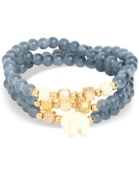 Zenzii Gold-tone Elephant Charm Beaded Multi-row Bracelet - Gray