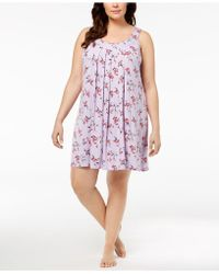 Alfani - Plus Size Bouquet-print Pleated Nightgown, Created For Macy's - Lyst