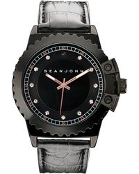 Sean John - Men's Black Diamond Collection Diamond Accent Black Leather Strap Watch 49mm 10030886 - Lyst