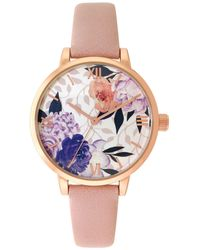 INC International Concepts - Pink Faux Leather Strap Watch 40mm, Created For Macy's - Lyst