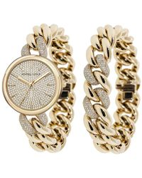 Kendall + Kylie - Gold Tone And Crystal Chain Link Stainless Steel Strap Analog Watch And Bracelet Set 40mm - Lyst