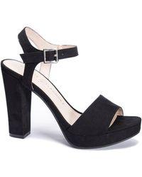 Chinese Laundry Aced Platform Wedge Sandals - Black