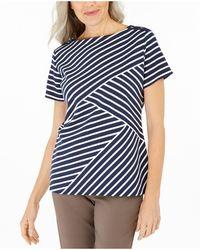Karen Scott Petite Asymmetrical-stripe Top, Created For Macy's - Blue