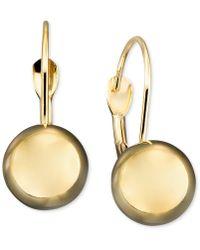 Macy's - 10k Gold Earrings, Ball Leverback - Lyst