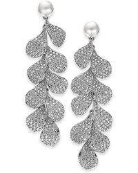 Danori - Cubic Zirconia Petal & Imitation Pearl Linear Drop Earrings, Created For Macy's - Lyst