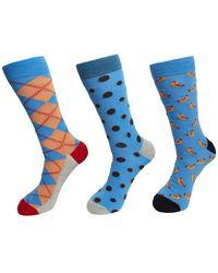 Happy Socks 3-pack Hot Dog Socks - Blue