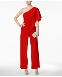 Adrianna Papell - Draped One-shoulder Jumpsuit - Lyst