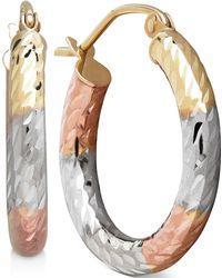 Macy's - Tri-tone Textured Hoop Earrings In 10k Gold - Lyst