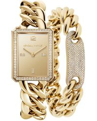 Kendall + Kylie Gold Tone Chunky Chain With Rectangle Face Stainless Steel Strap Analog Watch Matching Bracelet Set 40mm - Metallic