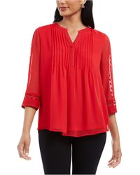 Charter Club Petite Sheer-sleeve Pintuck Top, Created For Macy's - Red