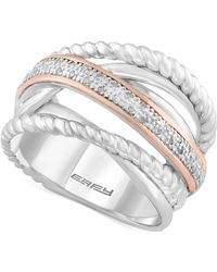 Effy Collection Diamond Rope Twist Ring (1/10 Ct. T.w.) In Sterling Silver And 14k Rose Gold - Metallic