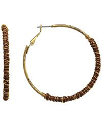 1928 T.r.u. By 14 K Gold Dipped Clutch Wrapped Hoop Earring - Metallic