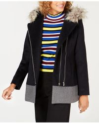 CoffeeShop - Junior's Faux-fur-trim Hooded Asymmetrical Coat - Lyst
