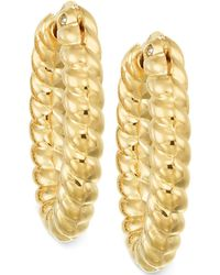 Signature Gold - Rope Hoop Earrings In 14k Gold Over Resin - Lyst