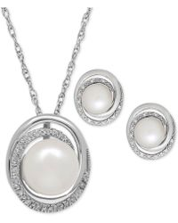 Macy's - Cultured Freshwater Pearl (7 & 8mm) And Diamond Accent Pendant Necklace And Matching Stud Earrings Set In Sterling Silver - Lyst