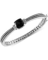 Effy Collection - Onyx (4-1/5 Ct. T.w.) And Diamond Accent Bangle Bracelet In Sterling Silver - Lyst