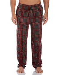Perry Ellis Portfolio Relaxed-fit Plaid Fleece Pajama Pants - Red