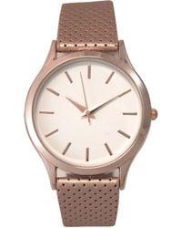 Olivia Pratt Simple Perforated Strap Watch - Pink