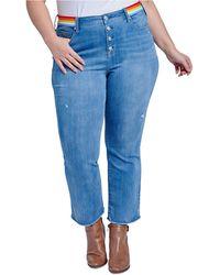 Seven7 Jeans Trendy Plus Size Rainbow-trim Bootcut Ankle Jeans - Blue