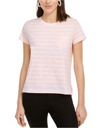 Maison Jules Striped T-shirt, Created For Macy's - Pink