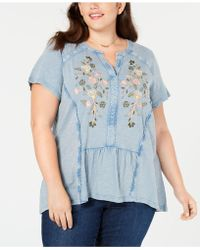 6a21218b10785 Lyst - Style   Co. Plus Size Embroidered Peasant Top in Green