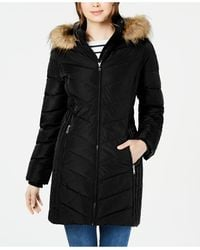 Tommy Hilfiger Petite Faux-fur Trim Hooded Water-resistant Puffer Coat, Created For Macy's - Black