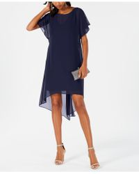 Adrianna Papell Chiffon-overlay A-line Dress - Blue