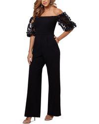 Xscape Floral-sleeve Off-the-shoulder Jumpsuit - Black