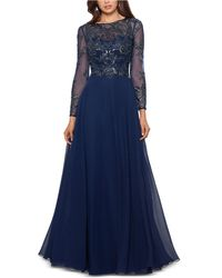 Xscape - Long Sleeve Beaded Chiffon Gown - Lyst