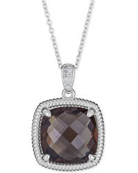 Macy's Blue Topaz (10 Ct. T.w.) & Diamond Accent Necklace In Sterling Silver - Metallic