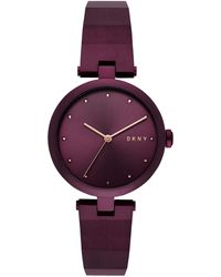 DKNY - Eastside Port Purple Stainless Steel Half-bangle Bracelet Watch 34mm, Created For Macy's - Lyst
