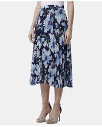0571411bf Tahari Floral Accordion Pleat Midi Skirt in Blue - Lyst