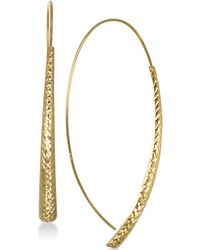 Macy's - Textured Crossover Drop Earrings In 10k Gold - Lyst
