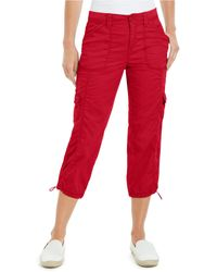 Style & Co. Petite Cargo Capris, Created For Macy's - Red