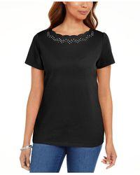 Karen Scott Cotton Scalloped-neck T-shirt, Created For Macy's - Black