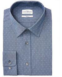 Lucky Brand Slim-fit Performance Stretch Indigo Dobby Chambray Dress Shirt - Blue