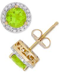 Macy's - Peridot (1-1/10 Ct. T.w.) & Diamond (1/8 Ct. T.w.) Halo Stud Earrings In 14k Gold - Lyst