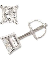 Macy's - Diamond Princess Stud Earrings (1 Ct. T.w.) In 14k White Gold - Lyst