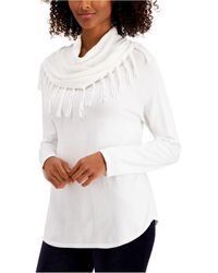 Style & Co. Fringe Cowl-neck Sweater, Created For Macy's - White