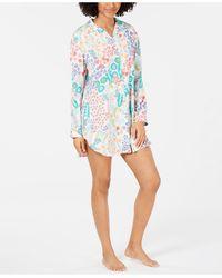 Josie By Natori Lotus Boutique Flower-print Notch Collar Sleepshirt - Blue