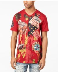 Heritage America V-neck Patch T-shirt - Red