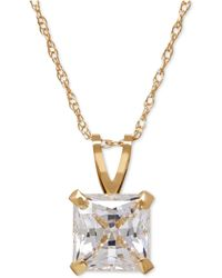 Macy's - Square-cut Cubic Zirconia Pendant Necklace In 14k Gold Or White Gold - Lyst