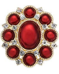 Charter Club Gold-tone Crystal & Imitation Pearl Pin, Created For Macy's - Red