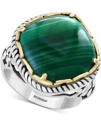 Effy Collection Effy® Malachite Statement Ring In Sterling Silver & 18k Gold-plate - Metallic