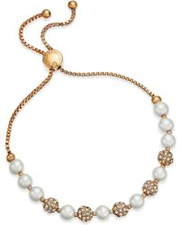 Charter Club - Pavé & Imitation Pearl Slider Bracelet - Lyst