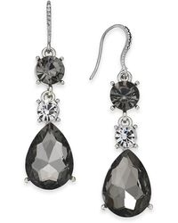 Charter Club - Silver-tone Crystal & Stone Drop Earrings, Created For Macy's - Lyst