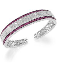 Macy's Ruby (1-3/4 Ct. T.w.) And Diamond Accent Cuff Bracelet In Sterling Silver - Multicolour