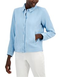 Alfani Textured Button-front Jacket, Created For Macy's - Blue