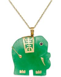 Macy's | Dyed Jade Elephant Pendant Necklace In 14k Gold (25mm) | Lyst